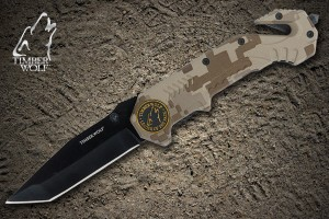 TW202 Timber Wolf Assist Rescue Camo Folding Knife with Clip
