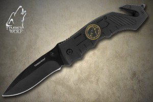 TW203 Timber Wolf Assist Rescue Black Folding Knife with Clip