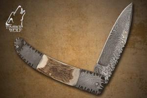 TW327 Timber Wolf Genuine Stag Damascus Pocket Knife & Sheath