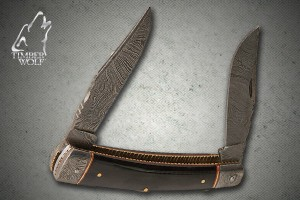 TW329 Timber Wolf Damascus Trapper with Leather Sheath