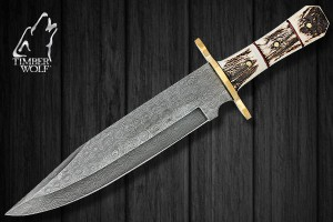 TW350 Timber Wolf Damascus Knife Bowie Genuine Stag Handle