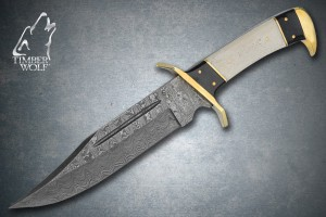 TW360 Timber Wolf Damascus Steel Bowie Knife & Leather Sheath