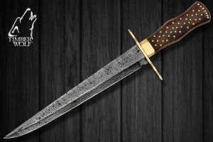 TW373 Timber Wolf Middle Ages Damascus Hunting Dagger