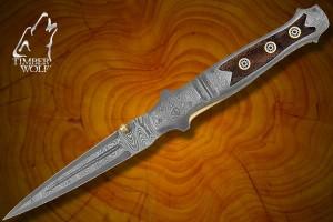 TW375 Timber Wolf Mosaic Damascus Stiletto Pocket Knive