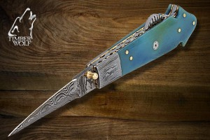 TW416 Timber Wolf Blue Bone Mosaic Ladder Pocket Knife